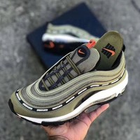 NIKE AIR MAX 97 Women Men Fashion Casual Running Sports Shoes Army green G