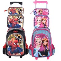 2017 new hot princescars snow queen children trolly school bag set school  backpack kids luggage 3pc one set for boys and girls