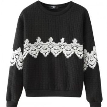 Stereoscopic Embossing Lace Sweatshirt