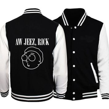2018 autumn Anime one piece black White tracksuits Hipster Rick Morty men's baseball jackets coats casual fleece sweatshirts man