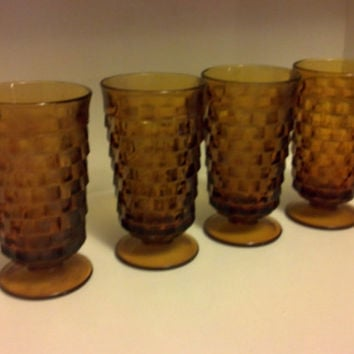 Vintage Fostoria Glasses, American Footed Amber Glass, Iced Tea Glasses, Water Glasses, Collectible Glass