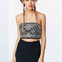 Pins And Needles Embellished Tube Top- Black