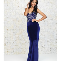 Royal Blue Beaded Strapless Sweetheart Velvet Gown