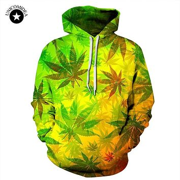 Unicomidea 3d Hip Hop Weed Leaf Printed Hoodies Women Men Street Clothing Fashion Hooded Sweatsuits Tops Mens Streetwear Hoody