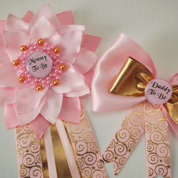 Princess Baby shower , Baby Shower Corsage, Mommy to Be Corsage, pink gold Baby Shower, Twinkle twinkle little star , Daddy to be pin