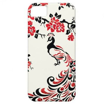 Black, faux red foil peacock & cherry blossoms iPhone 5 covers from Zazzle.com