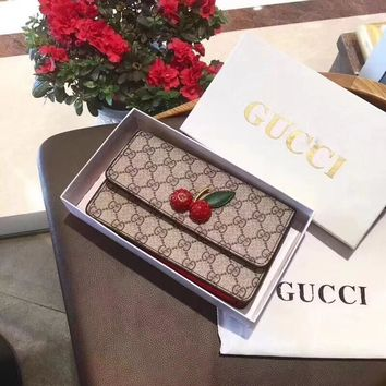 """Gucci"" Fashion All-match GG Cherry Single Shoulder Messenger Bag Women Mini Chain Flip Small Square Bag"