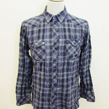 Vintage 1990sOne Industries Western Lumberjack Plaid Flannel Shirt L