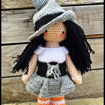 Handmade Crochet Amigurumi Meglaly Witch Halloween Doll - cute Gift idea - 14 inches tall