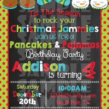 CHRISTMAS PANCAKES And PAJAMAS Party Invitation - Pancakes And Pajamas Party Invite - Christmas Pajama Party - Winter Birthday Chalkboard