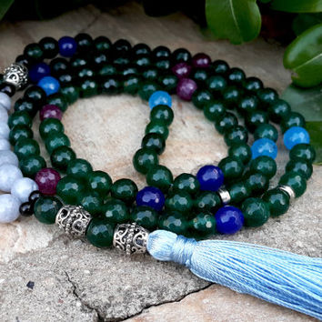 Buddhist Prayer Beads, 108 Mala Tassel Necklace, Dark Green Agate Mala, Yoga Necklace, Silver, Blue Silk Tassel, Meditation, Protection