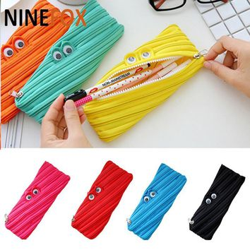 Zipper cute candy color pencil case funny cartoon pen bag stationery storage bag make up wash organizer bag kids student women