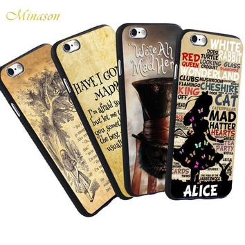 Minason Alice in Wonderland Cheshire Cat Quotes Case For iPhone X 8 5 S 5S SE 6 6S 7 Plus Case Shockproof TPU Soft Cover
