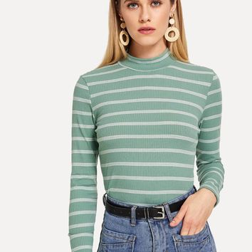 Green Striped Long Sleeve T-shirt
