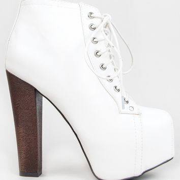 Breckelle's BRITNEY-02 Lace Up Wooden Chunky High Heel Ankle Boot Bootie,Britney-02 White 6.5