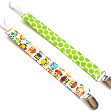 Owls & Polka Dots Pacifier Clip Set Owl Pacifier Holder Clip Unisex Pacifier Clip Boy Pacifier Clip Girl Paci Clip Baby Pacifier Clips
