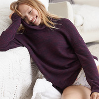 Aerie Real Soft® Cowl Neck Sweatshirt, Deep Plum