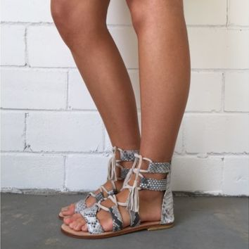 Splice X Splice Boutique The Lia Gladiator Sandals- Python Leather | Shop Online at Splice Boutique