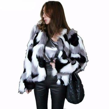 Fashion Camouflage Faux Fur Jackets For Women
