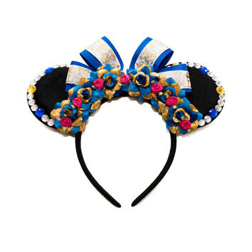 Beast Mouse Ears Headband, Beauty and the Beast Ears, Flower Mouse Ears, Minnie Ears Headband, Beauty and the Beast Costume, Mouse Costume