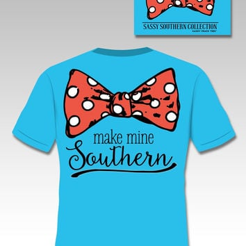 Sassy Frass Southern Collection Make Mine Southern Bow Comfort Colors Girlie Bright T Shirt