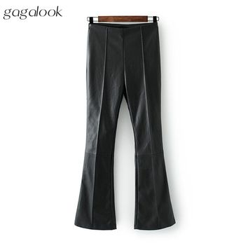 Women Winter High Waist Skinny Black Leather Pants Fashion Trousers