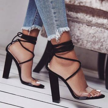 woman shoes chaussure femme cross-tied lace up Zapatos Mujer ladies summer sandals women chunky high heels pumps clear F180008