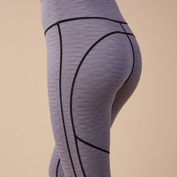 Gymshark Reversible Contrast Leggings - Black/Light Grey Marl