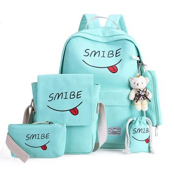 4 Pieces / Set Of Summer Women Canvas Backpack Girl Student Lace Book Bag With  High Quality Backpack Child Juvenile Bag