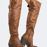 ONETOW Distressed Knee High Boots