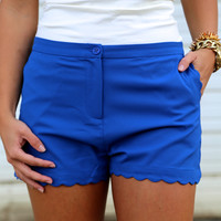 Scalloped Shorts {Cobalt}