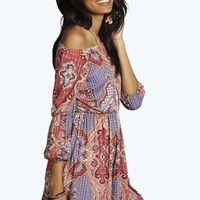 Sara Off Shoulder 70`s Paisley Skater