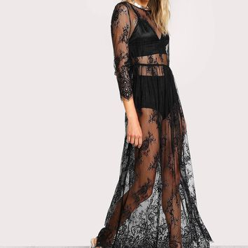 Black Buttoned Split Back Sheer Floral Dress
