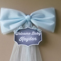 Blue Baby Shower Bow, Hospital Door Decoration, Personalized Baby Name , Baby Shower Bow, Birth Announcement, Baby Shower Decoration,