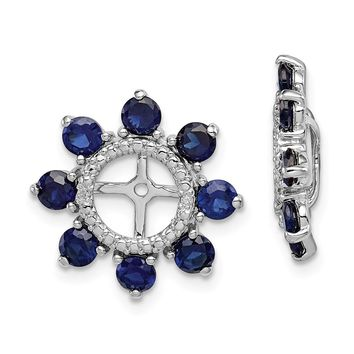 925 Sterling Silver Rhodium Diamond and Created Sapphire Earring Jacket b8984e4d49