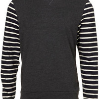 Charcoal Marl Striped Sleeve Sweatshirt - Men's Sweaters & Cardigans - Mens Clothes - TOPMAN USA
