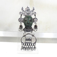 Huge Mayan Warrior Pendant Brooch Slide, Dark Green Carved Chrysocolla Face Mask Articulated, Taxco Mexico Tribal Jewelry