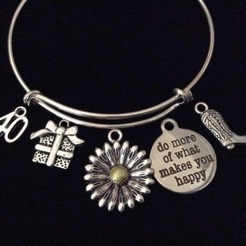 Custom Do More of What Makes You Happy Sunflower Silver Expandable Charm Bracelet Adjustable Wire Bangle Gift