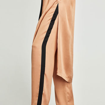 SATIN TROUSERS WITH SIDE STRIPES
