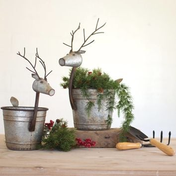 Metal Deer Planters (Set of 2)