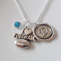 I love football necklace, Football necklace, Initial necklace, Personalized Jewelry, Birthstone necklace,