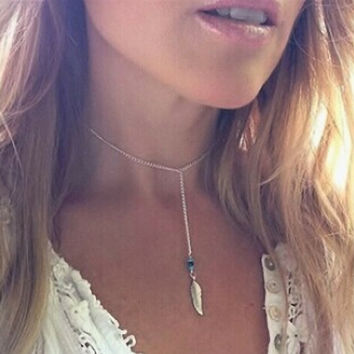 Silver Chain Choker with Feather Drop