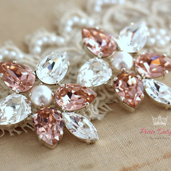 Blush pink and white Statement Swarovski Crystal earrings,Peach estate earrings,Bridal light pink chandelier earrings,Silver plated earrings