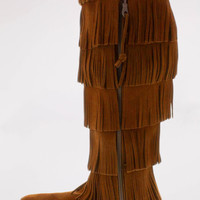 5-Layer Fringe Boot Brown