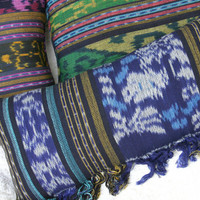 Blue Ikat Pillow, Lumbar Pillow Hand Woven Boho Pillow With Fringe, Ethnic Cushions