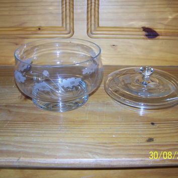 Crystal Glass Covered Frosted Satin Floral Etched Candy Dish CenterPiece
