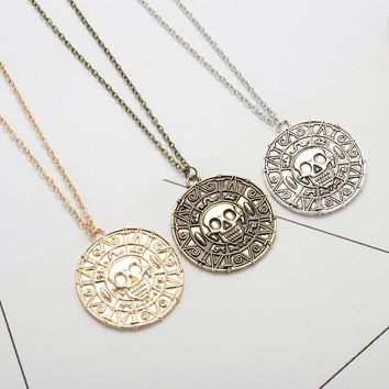 Tomtosh Fashion Jewelry Vintage Charm Alloy Aztec Coin Pendant Necklace Pirates of the Caribbean