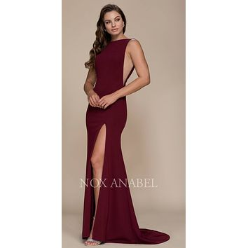Burgundy Sleeveless Long Prom Dress with Sheer Panels and Slit