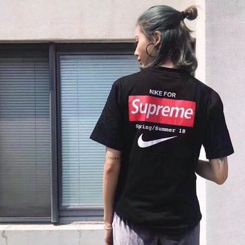 Supreme x Nike Women Fashion Short Sleeve Pure cotton Print Round collar Top