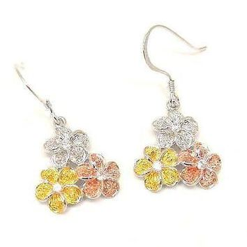 STERLING SILVER TRICOLOR 3 HAWAIIAN PLUMERIA FLOWER WIRE HOOK EARRINGS CZ